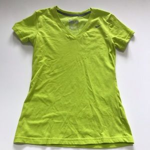 Nike Women's V Neck Green Dri Fit Workout TShirt
